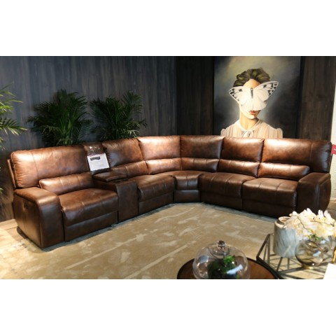 Living Room Sectional Sofa 3 Power Recliner Polished Micro Fibre Leather Air